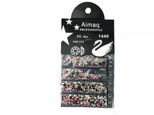 Стразы Aimaq professional желто-зелено-розовые, 1440 шт.