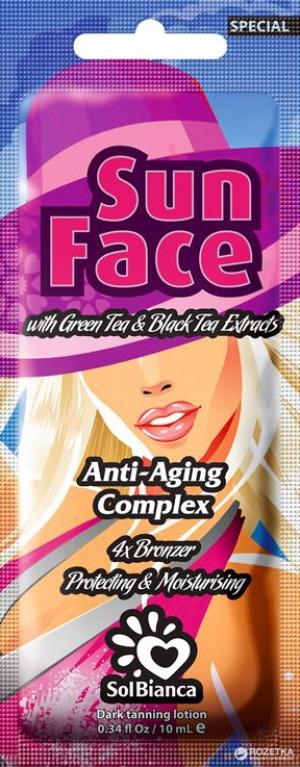 Крем Sun Face для лица с экстрактами черного и зеленого чая и бронзаторами